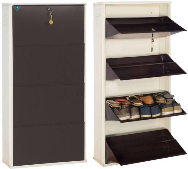 Delite Kom 24 Inches wide Four Door Double Decker Powder Coated Wall Mounted Metallic Ivory Coffee Metal Shoe Rack