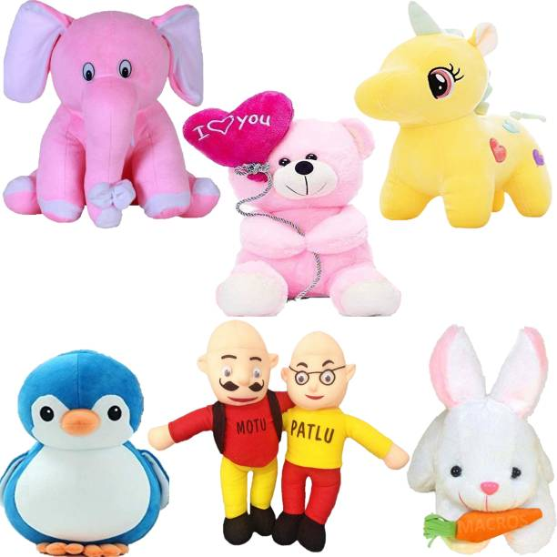 Macros Classic Super Soft Funny Combo of 6 Stuffed Toys Teddy Bear Toy in Low Budget for kids / Gift , Elephant , Unicorn , Balloon Teddy , Penguin , Rabbit , Motu Patlu.  - 25 cm