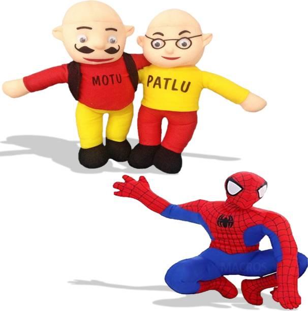 Macros Funny Motu & Patlu with Spiderman for Kids, Gift & Decoration  - 30 cm