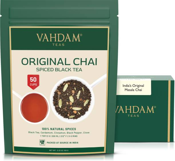 Vahdam India's Original Masala Chai Tea Leaves (50 Cups) Ancient Indian House Recipe, Assam CTC Black Tea blended with Cardamom, Cinnamon, Black Peppercorns & Cloves from India, 100g Spices Masala Tea Vacuum Pack
