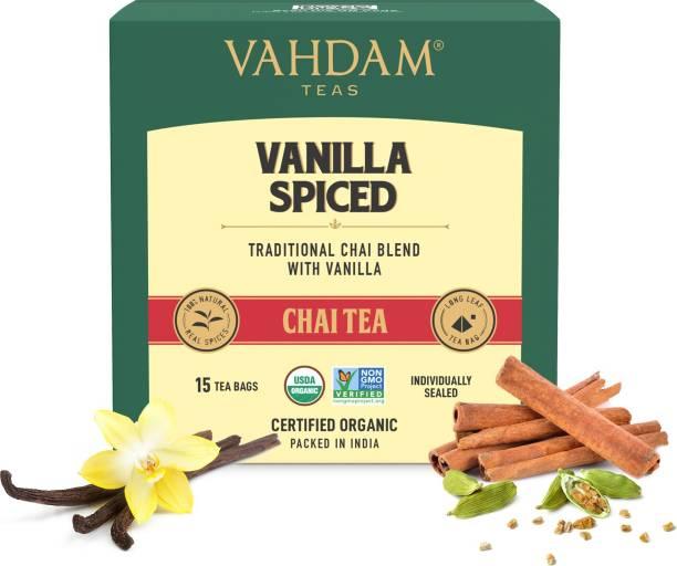 Vahdam Vanilla Chai Tea | STRESS RELIEVING & REFRESHING Vanilla Masala Tea Bags Box