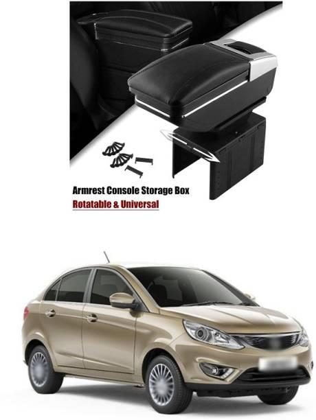 PRTEK Armrest Console Storage Box Rotatable Black Leather Center Box A231 Car Armrest