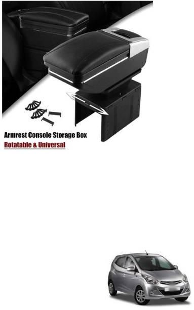 PRTEK Armrest Console Storage Box Rotatable Black Leather Center Box A79 Car Armrest