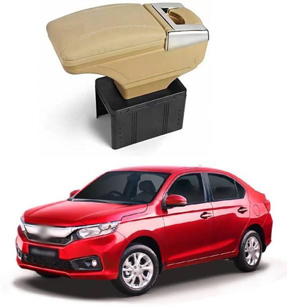 PRTEK Stylish Car Armrest with Glass Holder & Ash Tray Beige & Chrome for all Cars (Universal) C32 Car Armrest