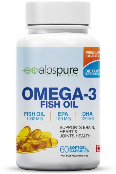 ALPSPURE Omega 3 Fish Oil 1000 mg 60 Softgel Capsules 180 mg EPA And 120 mg DHA