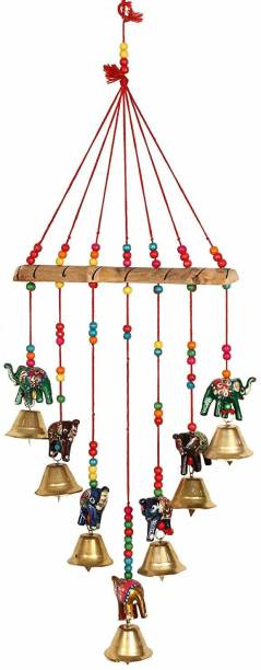 LUCKY Enterprisess lKY ENTERS Wall Hanging Round Coloured Wind chimes for Attract Positive Dreams Brass Windchime Wool Windchime