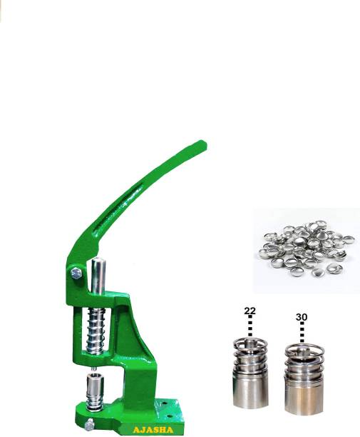 AJASHA Fabric button making machine with 2 steel dyes & 1500 Shells