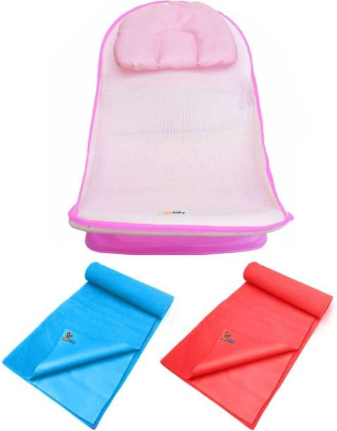 sunbaby PERFECT COMBO of Anti-Slip Deluxe Baby Bather, Bath Seat for Bathing & Dry Sheet- Set of 2