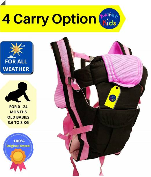 Aayat Kids ® Original Safer 4 Carry Option Premium Baby Carrier Cum Kangaroo Bag/Honeycomb Texture Baby Carry Sling/Back/Front Carrier for Baby and Solid Buckle Straps (Black,Pink) Baby Carry Cot