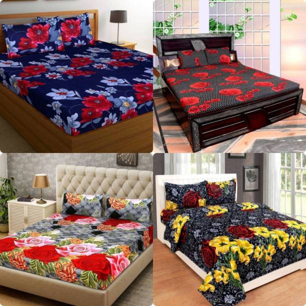 RD FABS 144 TC Microfiber Double Floral Bedsheet