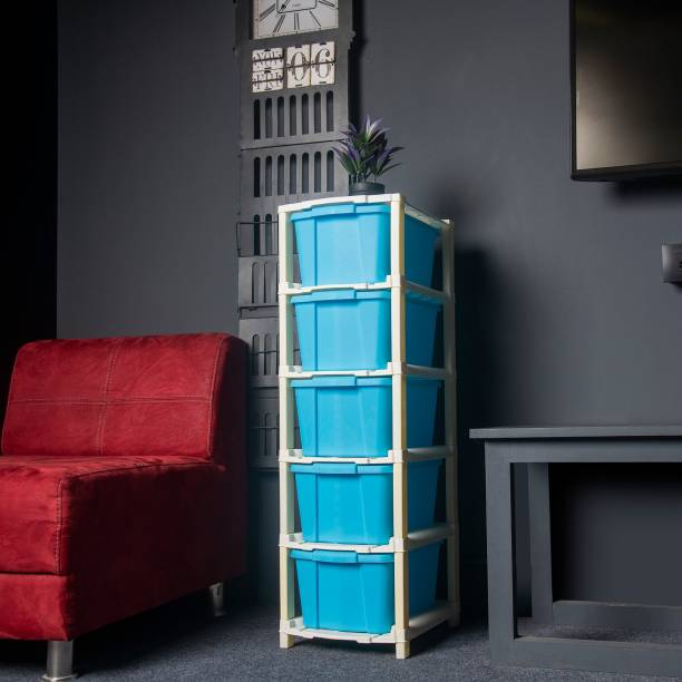Foxter Plastic Free Standing Chest of 5 Blue Drawers (Finish Color - Multicolor) Plastic Free Standing Chest of Drawers