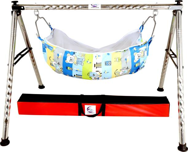 vyana sales stainless steel round foldable baby cradle for 0 to 2 year kids with cotton hammock (khoyu,zholi,cot)