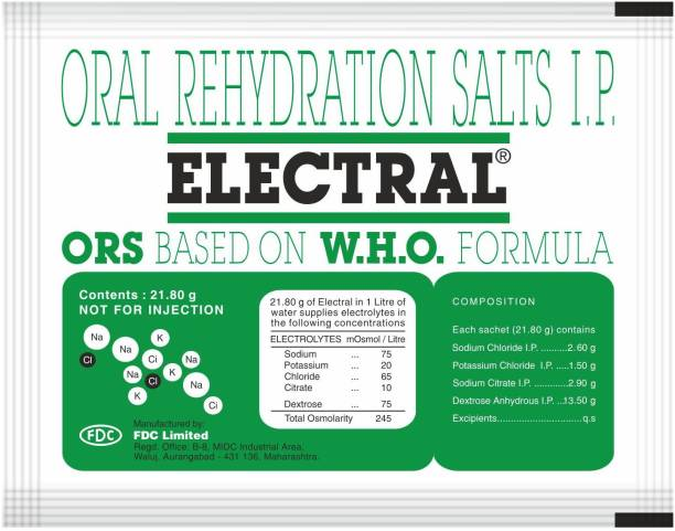 Electral ORS WHO Formula Based Powder 21.8 gm (Pack of 30) Energy Drink