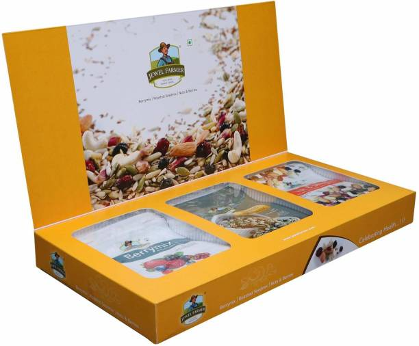 Jewel Farmer Premium Dry Fruits Box Combo 3 in 1 Designer Gift Hamper with Roasted Seed Mix, Berry Mix & Nuts & Berries for Diwali, Christmas & New Year Combo