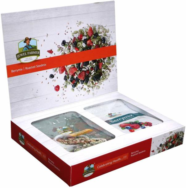 Jewel Farmer Premium Dry Fruits Box Combo 2 in 1 Designer Gift Hamper with Roasted Seedmix & Berrymix for Diwali, Christmas & New Year Combo