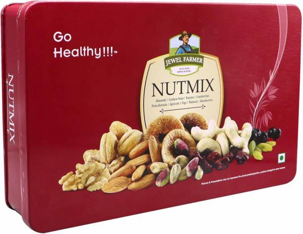Jewel Farmer Premium Nutmix Dry Fruits Box Designer Gift Hamper with Assorted Nuts for Diwali, Christmas & New Year Combo
