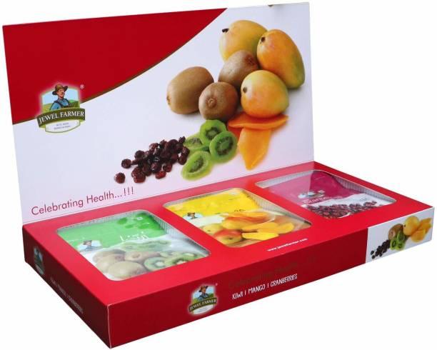 Jewel Farmer Premium Dry Fruits Box Combo 3 in 1 Designer Gift Hamper with Dried Kiwi, Mango & Craneberries for Diwali, Christmas & New Year Combo