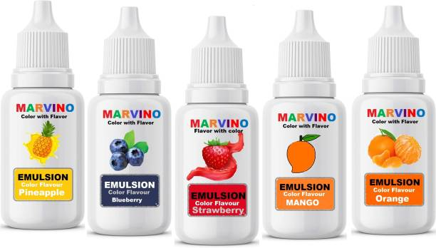Marvino Emulsion Flavored Color for cakes icecreams pastries whipcreams Jellies Candies (pack of 5) Mango Liquid Food Essence