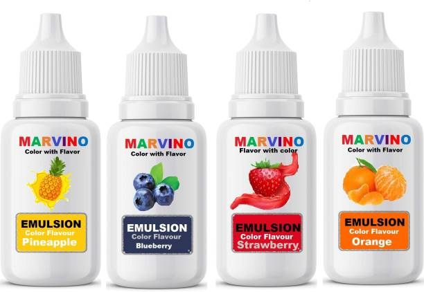 Marvino Emulsion Flavored Color for cakes icecreams pastries whipcreams Jellies Candies pack of 4 Pineapple Liquid Food Essence