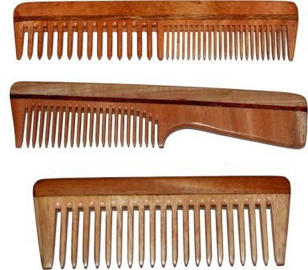 Pitambara PACK OF 3 DETANGLER & FINE TOOTH NEEM WOOD COMB WITH HANDLE