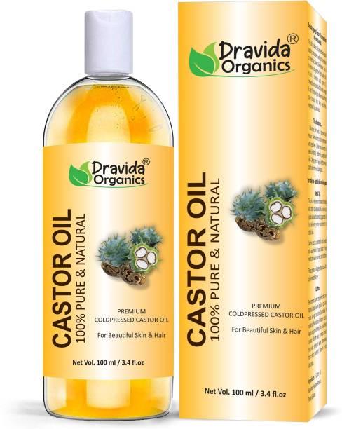 Dravida Organics Cold-Pressed 100% Pure Castor Oil For Beautiful Skin & Hair Care Hair Oil