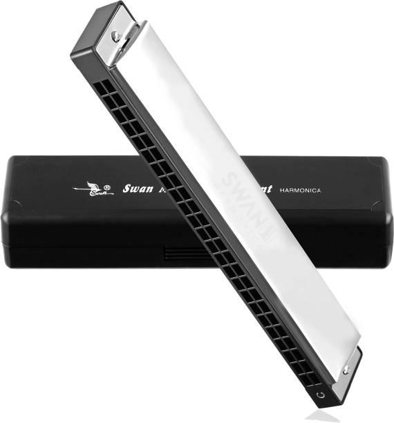 SWAN Techno Geek Sw24-4 Tremolo Harmonica Performance Harmonica Mouth Organ 24 Holes 48 Tones C Key With Black Box