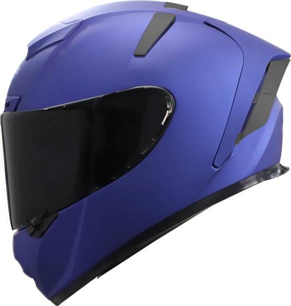 Steelbird SA-2 7Wings Super Aeronautics Full Face Helmet in Matt Y. Blue with Smoke Visor Motorbike Helmet