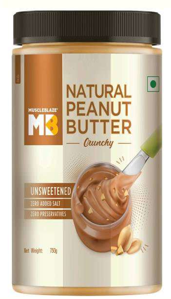MuscleBlaze Natural Peanut Butter, Crunchy 750 g