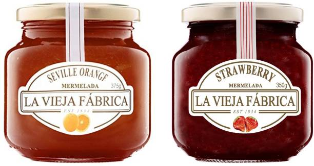 La Vieja Fabrica Strawberry Jam 350g and Orange Jam 375g (Combo Pack) 725 g