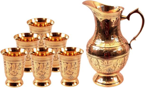 IndianArtVilla Set of 1 Designer Mughlai Style Brass Jug 1050 ML with 6 Glass 250 ML each - Storage Serving Water Home Hotel Restaurant Drinkware Gift Item Jug Glass Set