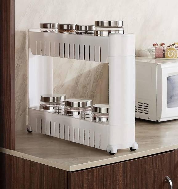STUNNER 2 Layer Slim Side Space Saving Storage Organizer Rack Shelf with Wheels for Easy Movement | Unbrekable Plastic (55L X 12W X 36H CM) Plastic Kitchen Trolley
