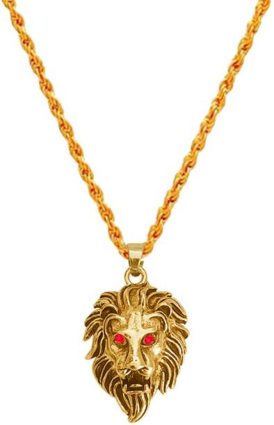 M Men Style Animal Lion Head With Red Eyes Locket With Chain Gold-plated Brass, Zinc Pendant Set