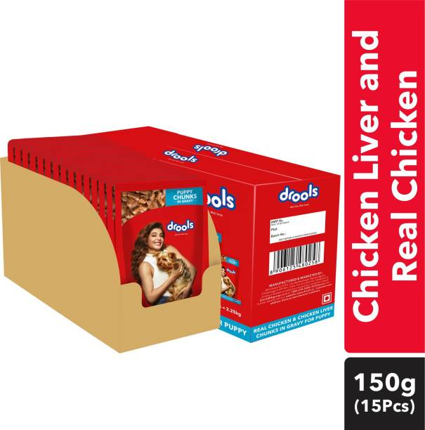 drools Chunks in gravy for Puppy - Chicken Liver and Real Chicken 2.25 kg (15x0.15 kg) Wet Young Dog Food