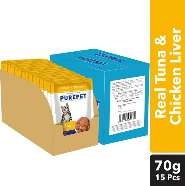 purepet Chunks in gravy(For all life stages) - Chicken Liver and Real Tuna 1.05 kg (15x0.07 kg) Wet Adult Cat Food