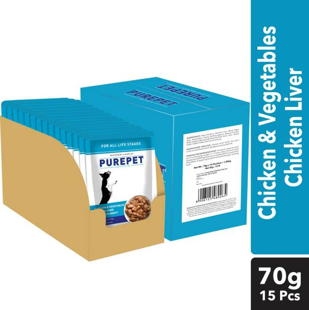 purepet Chunks in gravy(For all life stages) - Real Chicken and Vegetable 1.05 kg (15x0.07 kg) Wet Adult Dog Food