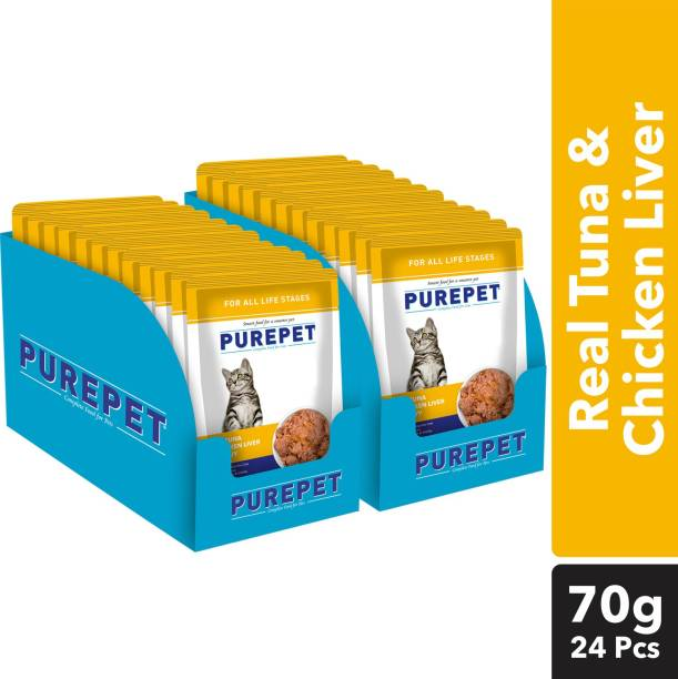 purepet Chunks in gravy(For all life stages) - Chicken Liver and Real Tuna 1.6 kg (24x0.07 kg) Wet Adult Cat Food