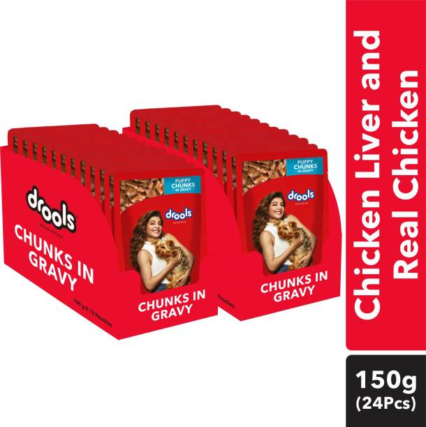 drools Chunks in gravy for Puppy - Chicken Liver and Real Chicken 3.6 kg (24x0.15 kg) Wet Young Dog Food