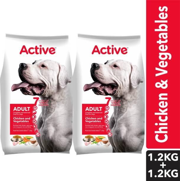 Active (Buy 1 Get 1 Free) Adult Chicken and Vegetables Vegetable 2.4 kg (2x1.2 kg) Dry Adult Dog Food