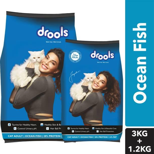 drools (3kg with 1.2kg) Adult Ocean Fish 4.2 kg Dry Adult Cat Food