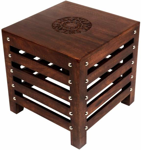Decorhand Solid Wood Hand Carved Side Table/ End Table Solid Wood Side Table