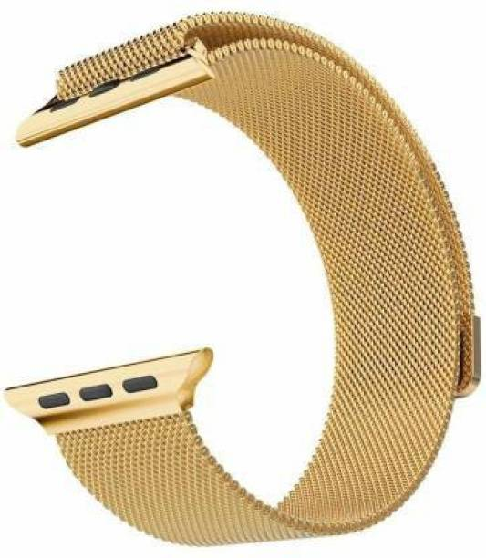 Caxon Stainless Steel Milanese Strap Band with Magnetic Closure for iWatch 38mm/40mm, Compatible with Watch Series 1/2/3/4/5 T_38/40mm_Gold(Chain) Smart Watch Strap Smart Watch Strap