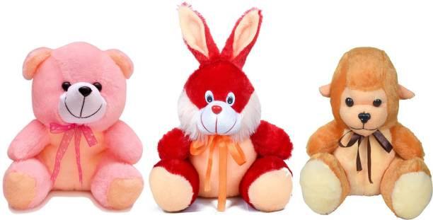BABIQUE Soft toys Teddy Bear Combo Rabbit Monkey and Teddy Kids Birthday Gift  - 25 cm