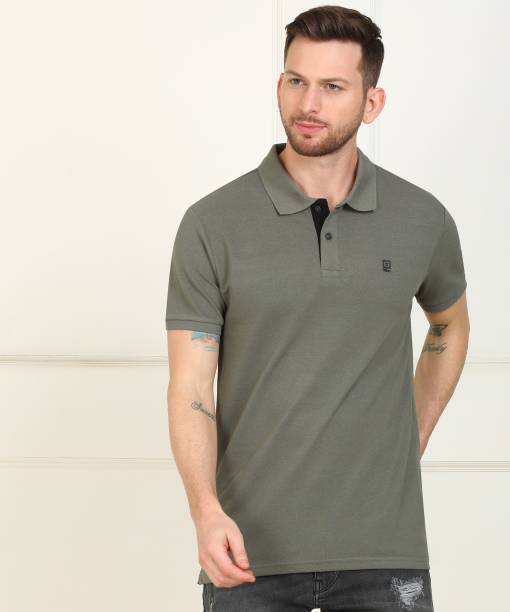 Billion Solid Men Polo Neck Dark Green T-Shirt