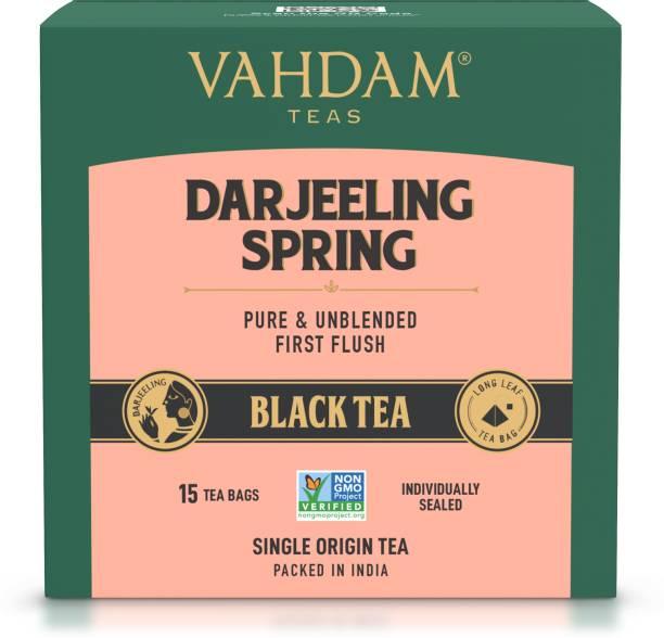 Vahdam Darjeeling First Flush Tea Leaves | Strong, Robust & Flavoury | Black Tea Bags Box