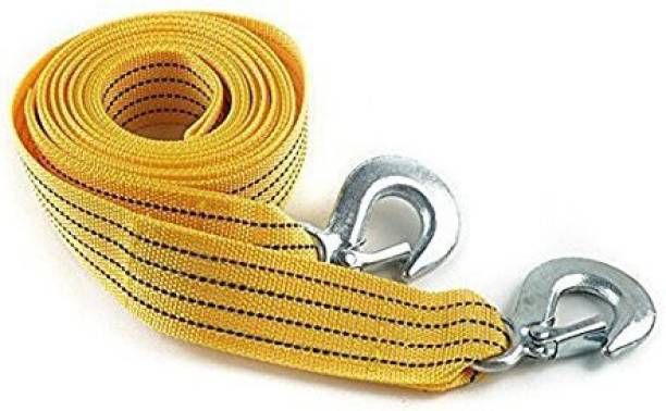 carempire Long Super Strong Emergency Heavy Duty Car Tow Cable 3 Ton Towing Strap Rope with Dual forged Hooks (Yellow, A-05) 4 m Towing Cable