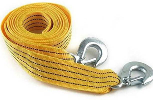 carfrill Long Super Strong Emergency Heavy Duty Car Tow Cable 3 Ton Towing Strap Rope with Dual forged Hooks (Yellow, A-05) 4 m Towing Cable