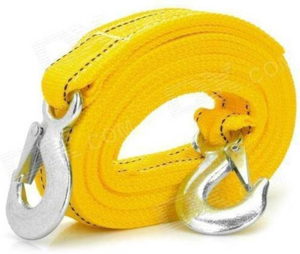 Campark Premium 4M Long || Super Strong Emergency Heavy Duty || Car Tow Cable || 3 Ton Towing Strap Rope || with Dual Forged Hooks || Yellow Colour 4 m Towing Cable