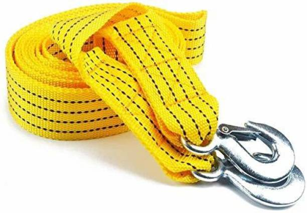 carfrill Premium 4M Long || Super Strong Emergency Heavy Duty || Car Tow Cable || 3 Ton Towing Strap Rope || with Dual Forged Hooks || Yellow Colour 4 m Towing Cable