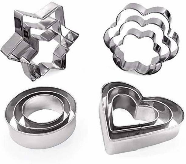 ZEKARO Star,Circle,Heart and Flowers Shape Stainless Steel Cookie Cutter Shapes, Cutter Bakeware Mould Biscuit Mould Set Sugar Arts Fondant Cake Decoration Tools Cookie Cutter