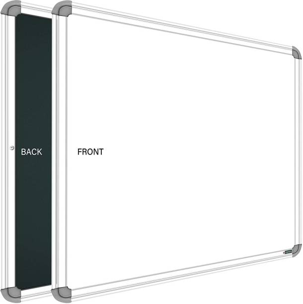 SRIRATNA Non Magnetic 1.5 X 2 feet Glossy White Board, One Side White Board Marker and Reverse Side Green Chalk Board Surface Whiteboards